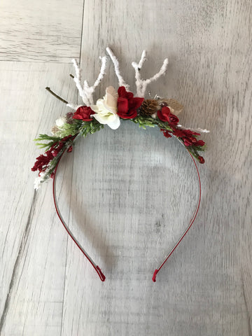Avry Couture Creations Reindeer Headband In Red