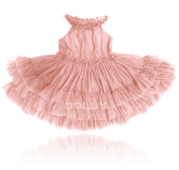 Dolly by Le Petit Tom Ruffled Chiffon Dance Dress In Ballet Pink.