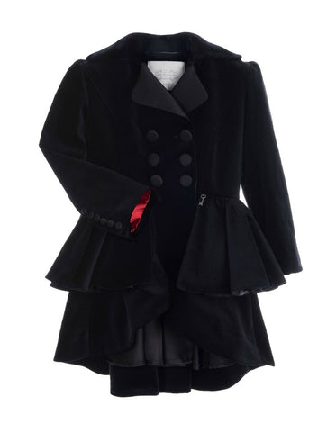 Little Wardrobe London Velvet Riding Coat In Black