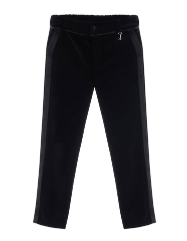 Little Wardrobe London Slim Cut Velvet Tuxedo Trouser In Black. Available for rent from The Borrowed Boutique.