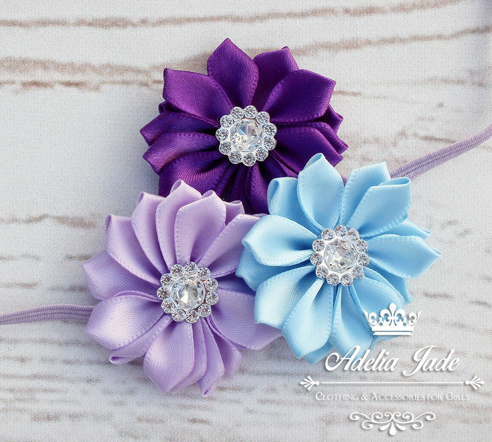Purple Headband Purple And Pale Blue Pinwheel Flowers And