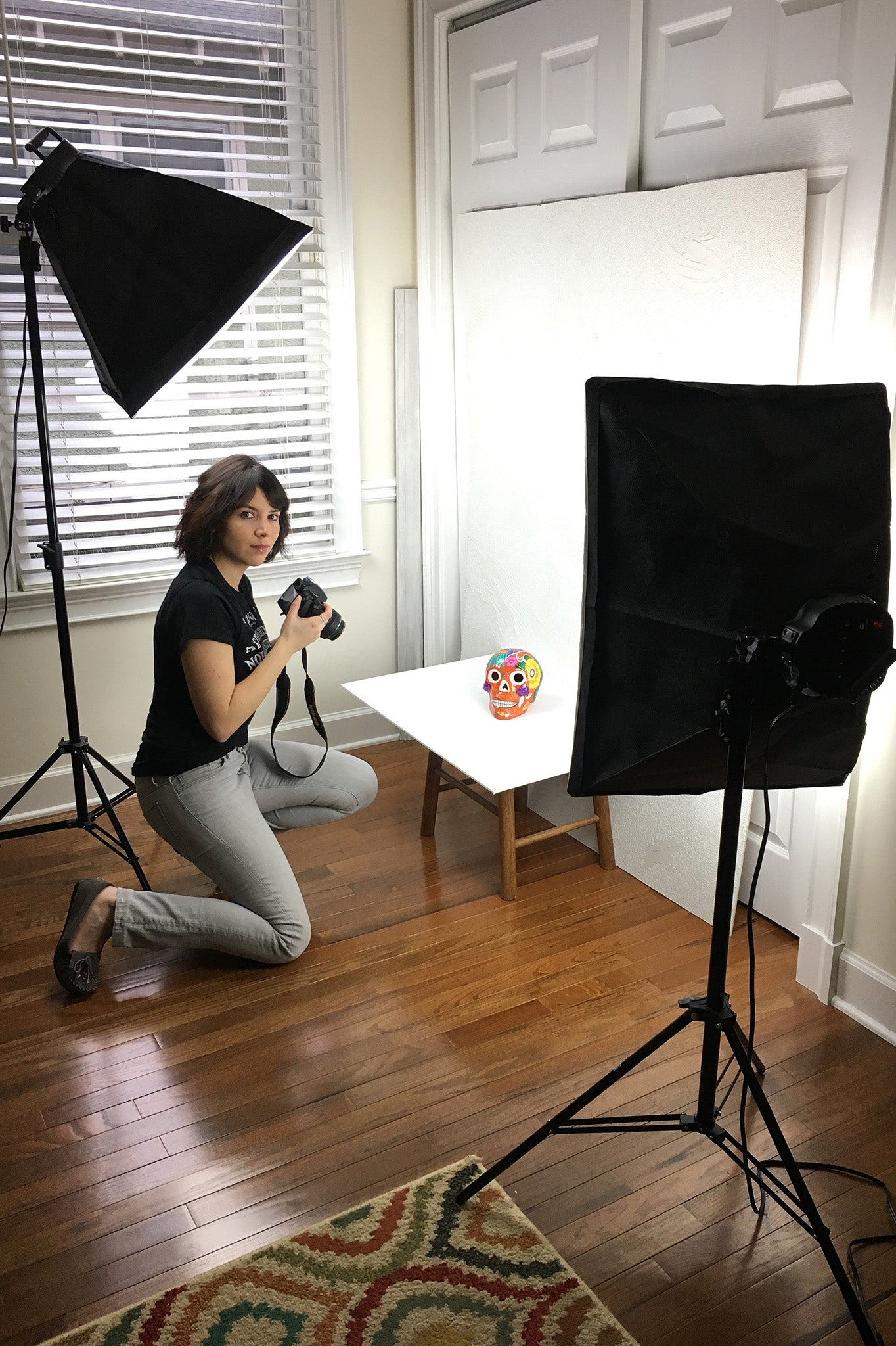ShopMucho.com about me page photo of owner Angelique shooting products behind the scenes