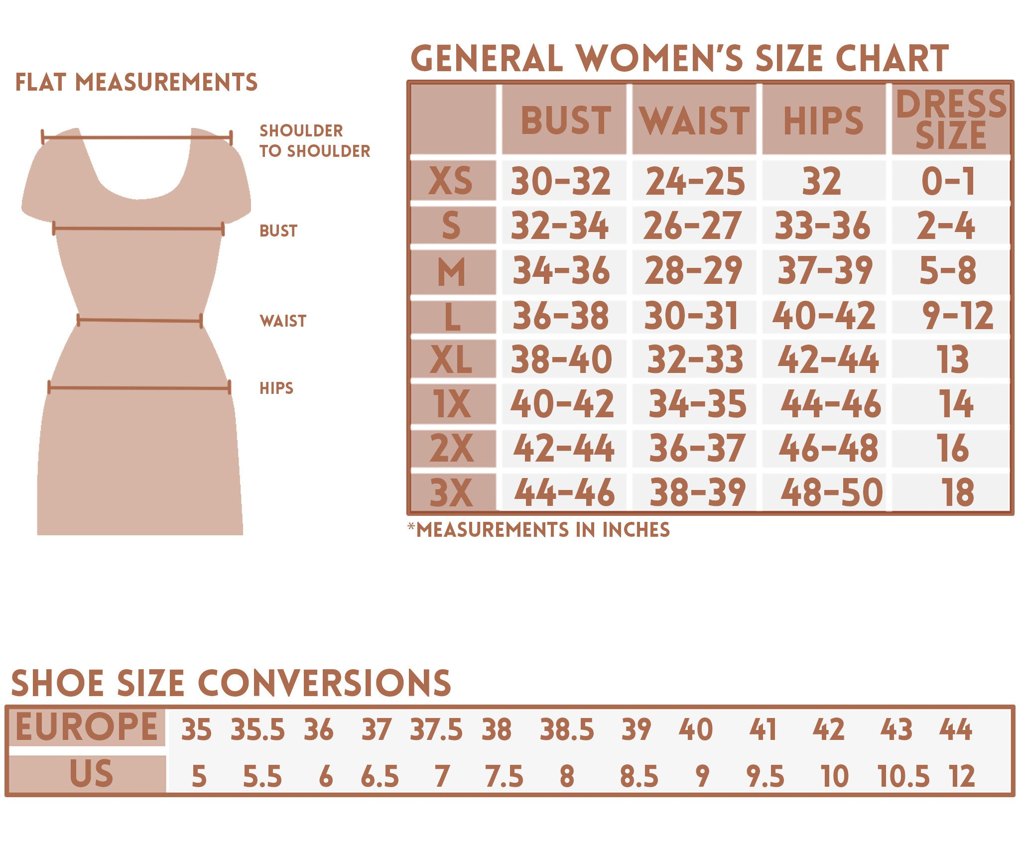 ShopMucho women's size guide and conversion charts for clothing and shoes