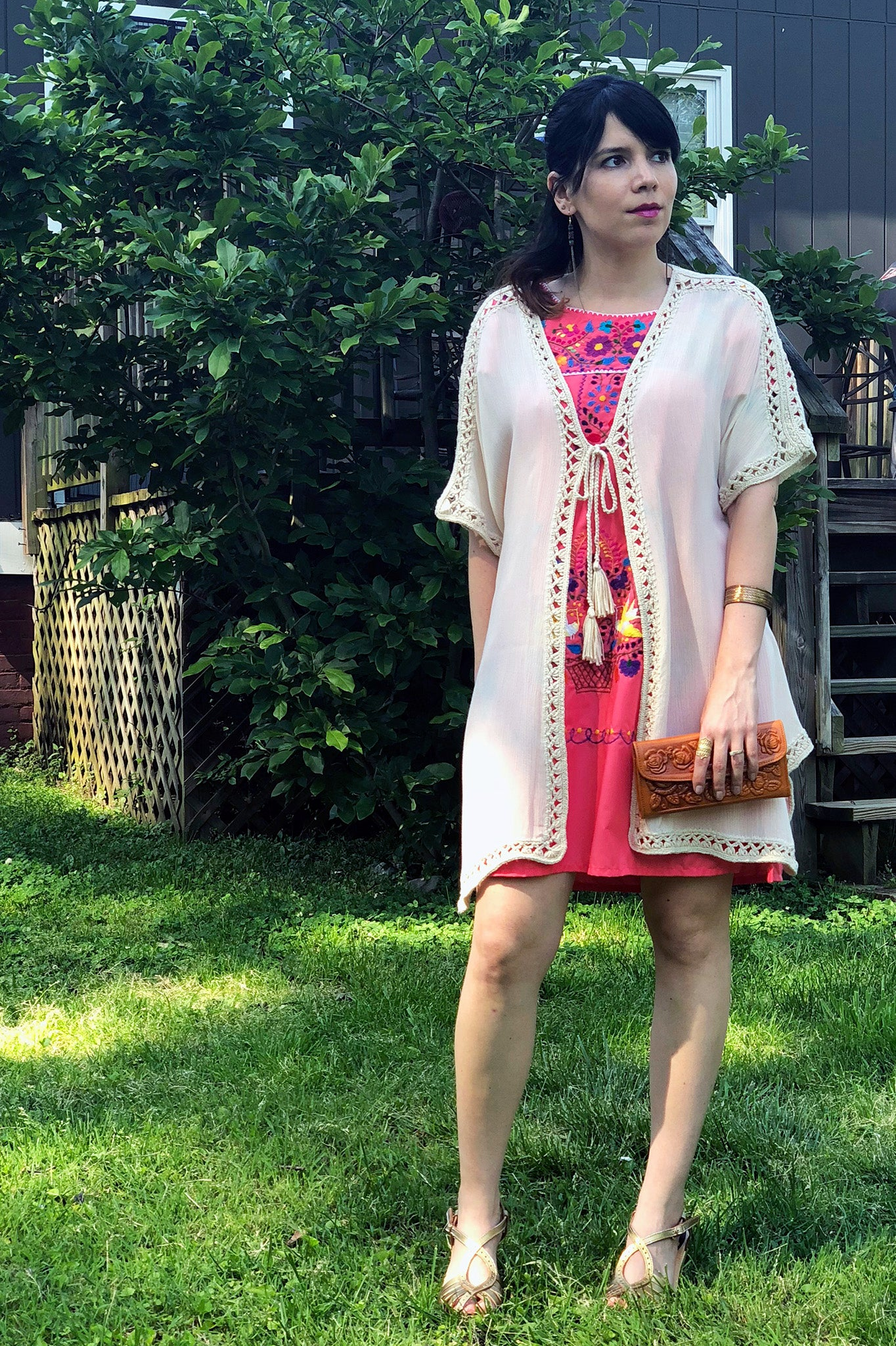 ShopMucho owner models Mucho merch, women's Mexican dress styled 3 ways