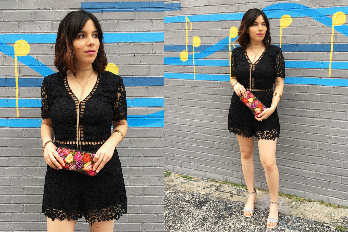 ShopMucho owner models women's black lace romper for a night out in Midtown Memphis