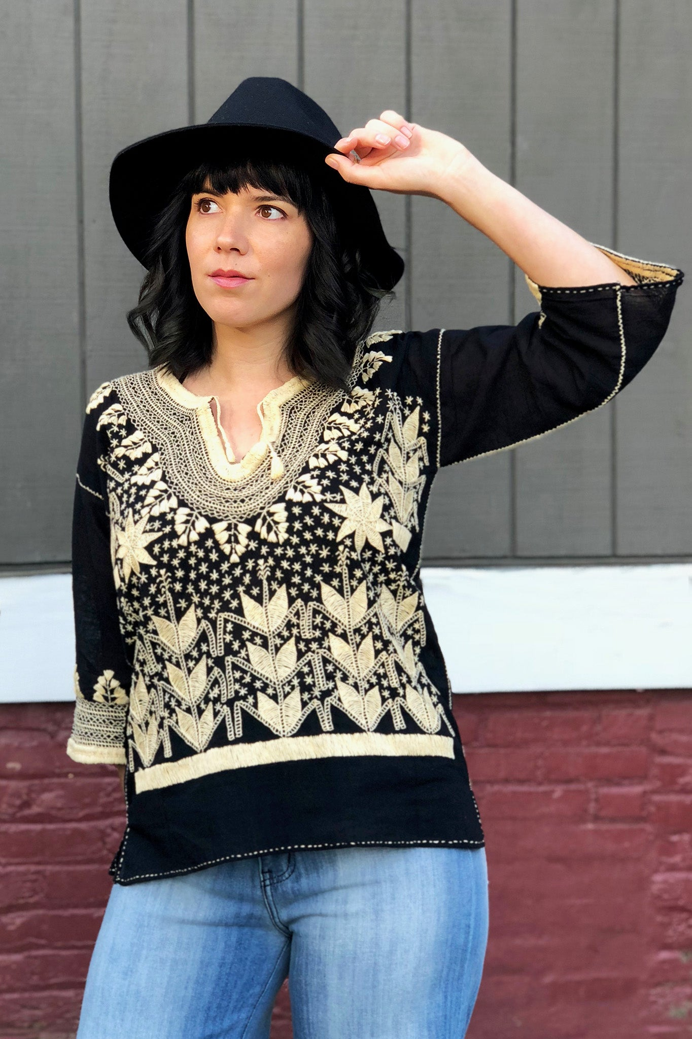 ShopMucho owner styles the Maya Mexican Blouse on the blog