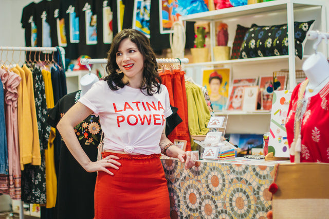 ShopMucho Owner inside her brick & mortar boutique at Primas Bakery and Boutique