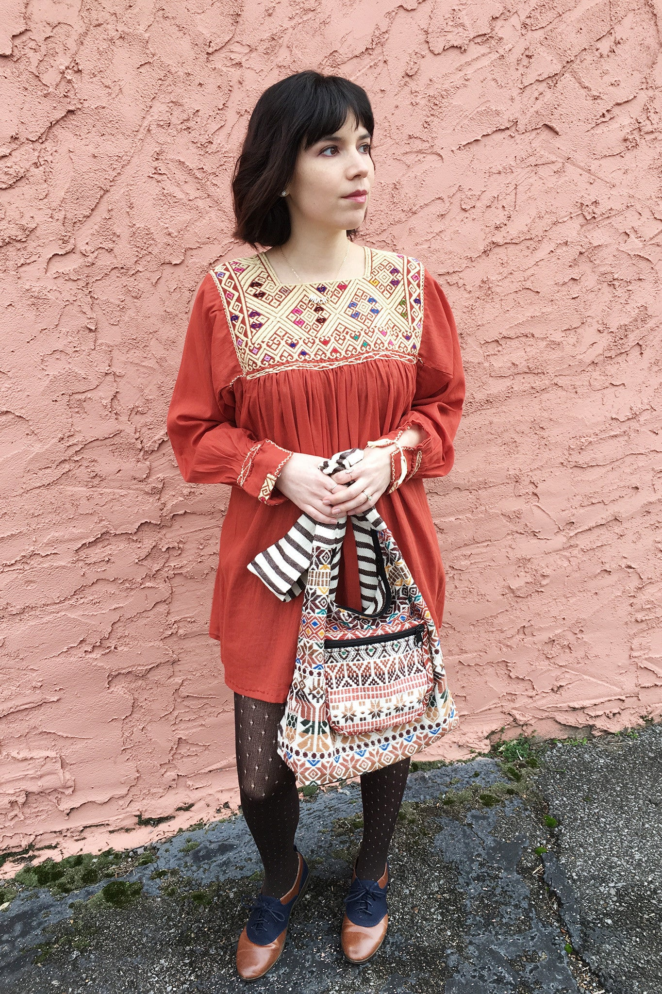 ShopMucho modern traditional embroidered Mexican dress