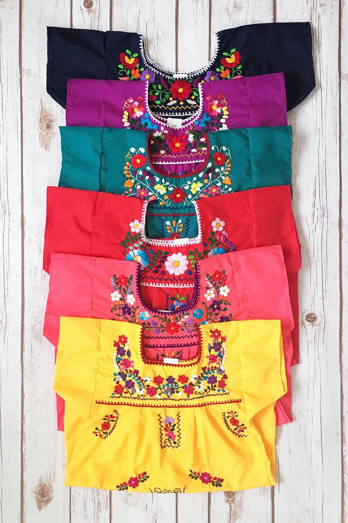ShopMucho little girls Mexican dress embroidered with colorful flowers comes in multiple colors age 2 toddler