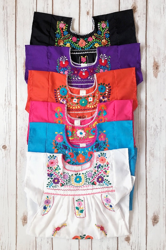 ShopMucho little girls Mexican dress embroidered with colorful flowers comes in multiple colors age 4 girls