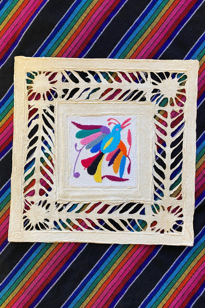ShopMucho Otomi Embroidered Amate Paper print wall decor