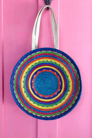 ShopMucho women's handwoven colorful round palm leaf tote bag