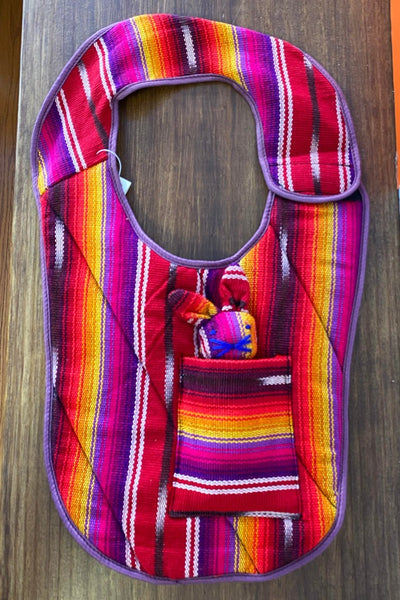 ShopMucho baby bib with a removable bunny doll handmade in Guatemala