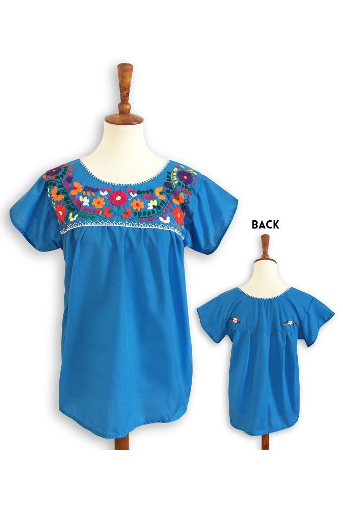 ShopMucho women's Mexican blouse handmade embroidered in blue