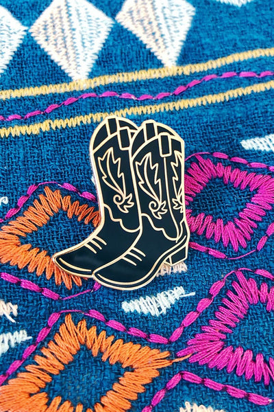 ShopMucho black and gold boots enamel pin