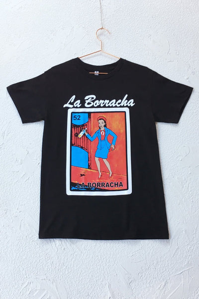 ShopMucho unisex Mexican style loteria graphic tee shirt in la borracha