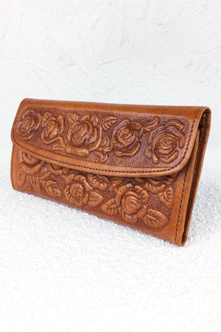 ShopMucho tooled leather wallet in tan