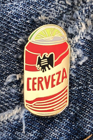 ShopMucho beer enamel pin Tecate inspired with a lime wedge