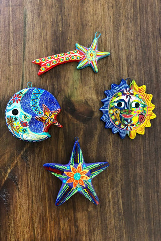 ShopMucho sun, moon, star, and shooting star ceramic ornaments
