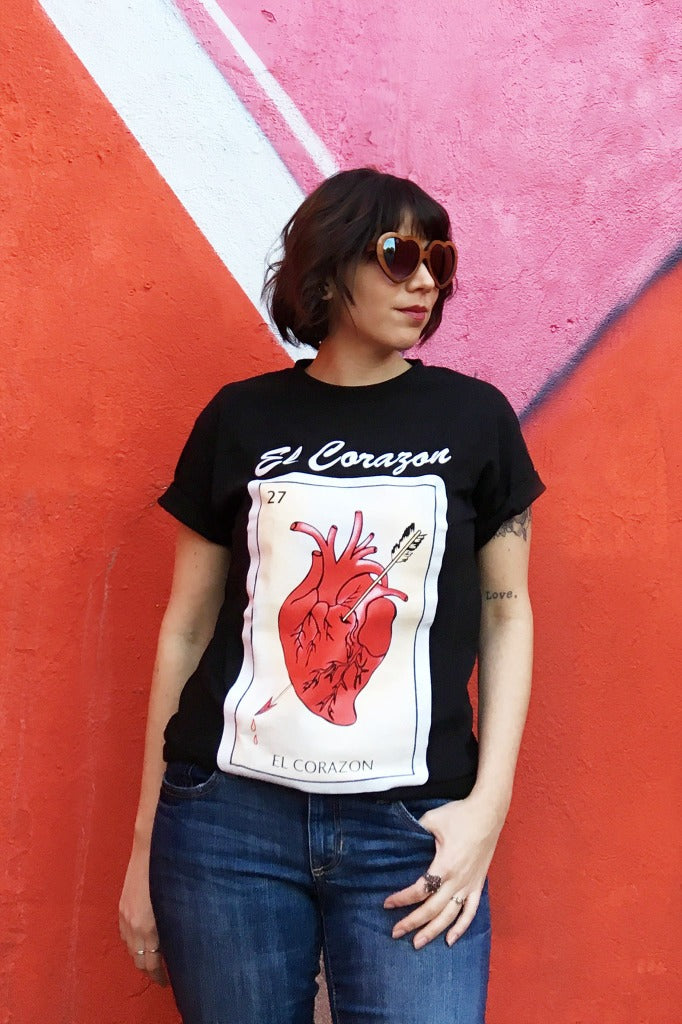 ShopMucho unisex Mexican style graphic tee shirt in el corazon