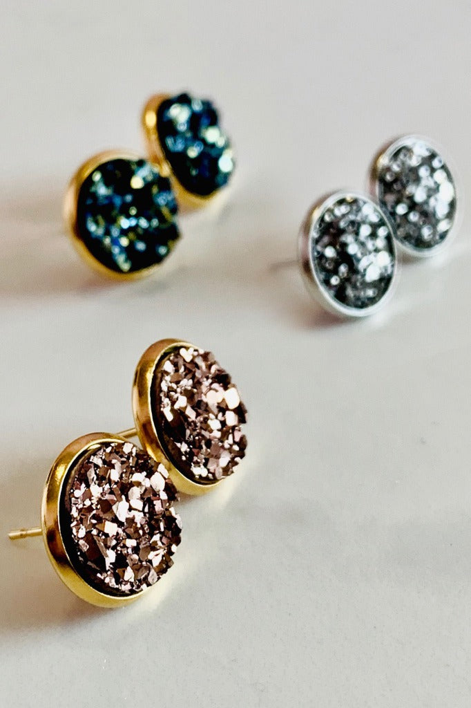 ShopMucho Local Artist Jewelry Stardust Druzy Stud Earrings