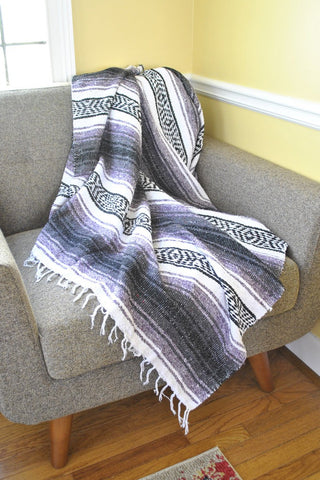 ShopMucho traditional handmade Mexican falsa throw blanket in purple