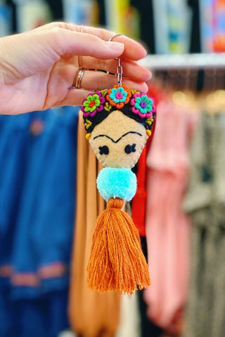 ShopMucho Frida embroidered Tassel keychain