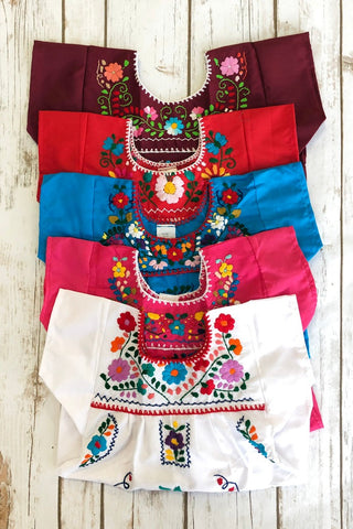 ShopMucho little girls Mexican dress embroidered with colorful flowers comes in multiple colors age 1 toddler