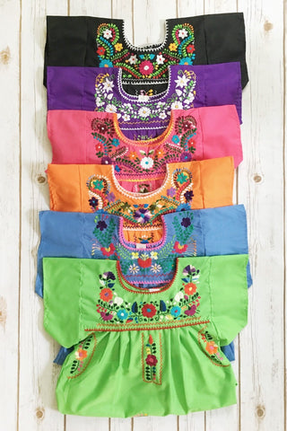 ShopMucho little girls Mexican dress embroidered with colorful flowers comes in multiple colors age 6 girls