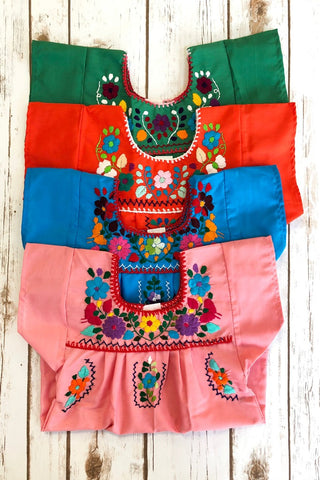 ShopMucho little girls Mexican dress embroidered with colorful flowers comes in multiple colors age 6 months