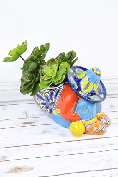 ShopMucho Mexican handmade Talavera sleeping man planter navy hat