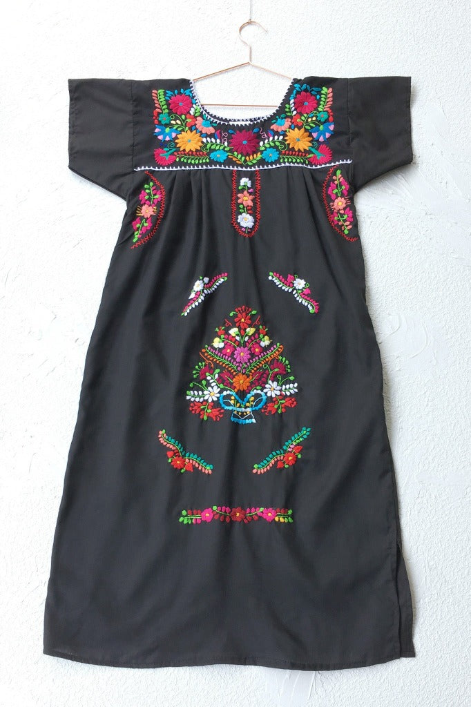 ShopMucho women's Mexican dress in black with colorful embroidered details