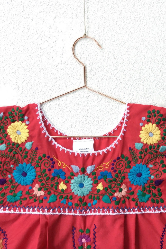 ShopMucho women's Mexican dress with colorful embroidered detail in red