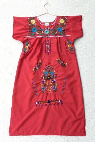 ShopMucho women's Mexican embroidered dress in red