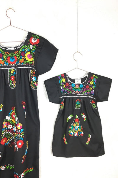 ShopMucho little girls Mexican dress embroidered with colorful flowers in black