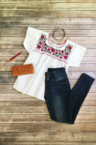 ShopMucho women's Mexican blouse handmade embroidered in white