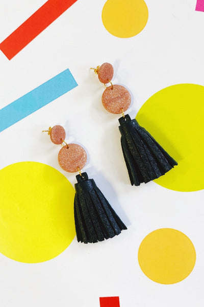 ShopMucho Clay & Leather Tassel Earrings