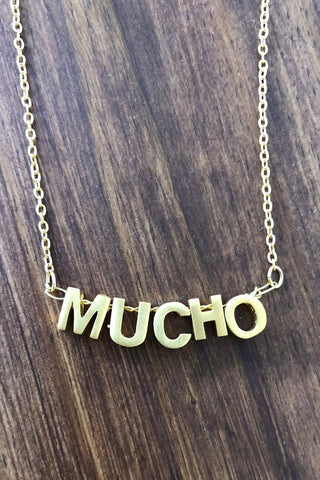 ShopMucho women's 3d gold letter Mucho necklace
