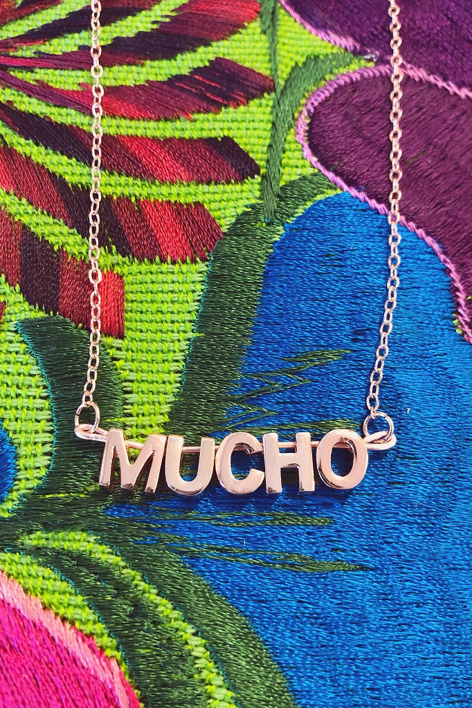 ShopMucho women's 3d rose gold letter Mucho necklace