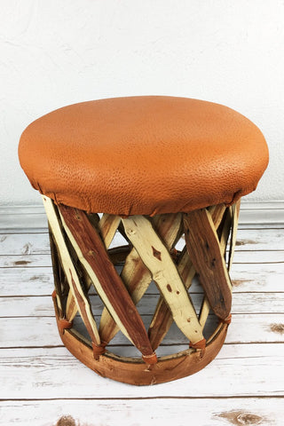 ShopMucho round cushioned footstool ottoman Equipale home decor in adobe