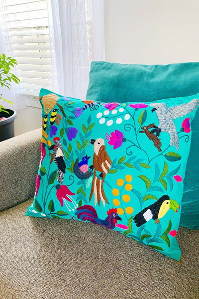 ShopMucho Mexican Hand Embroidered Animals & Plants Scene Pillow Cover