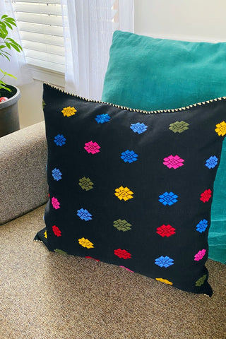 ShopMucho Mexican Hand Embroidered Colorful Pattern Pillow Covers