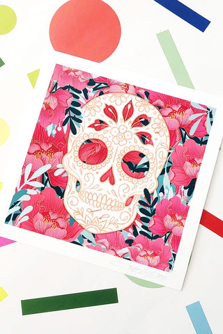 ShopMucho Supports Small Businesses shop Sugar Skull Print by Jesi Lee