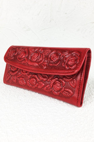 ShopMucho women's tooled leather wallet in red flowers