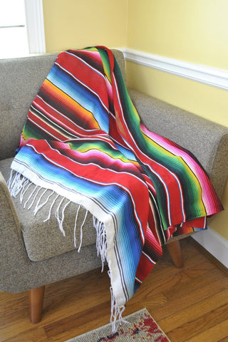 ShopMucho Traditional Mexican serape throw blanket in red