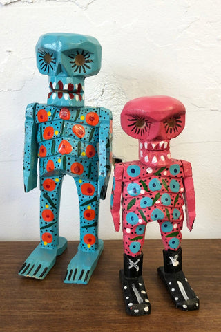 ShopMucho hand carved and painted skeleton figurines from Guatemala