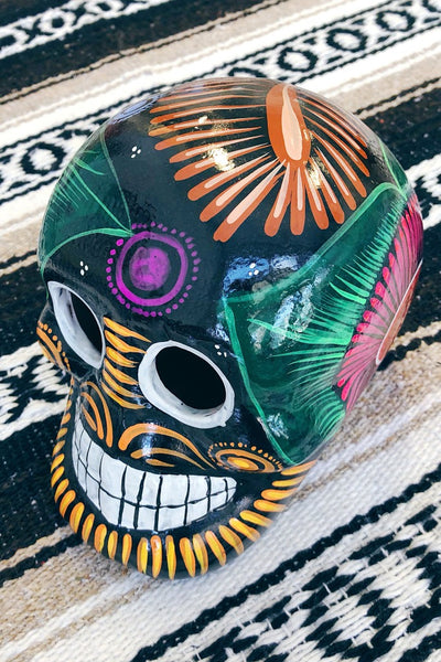 ShopMucho handmade ceramic Mexican sugar skull in black