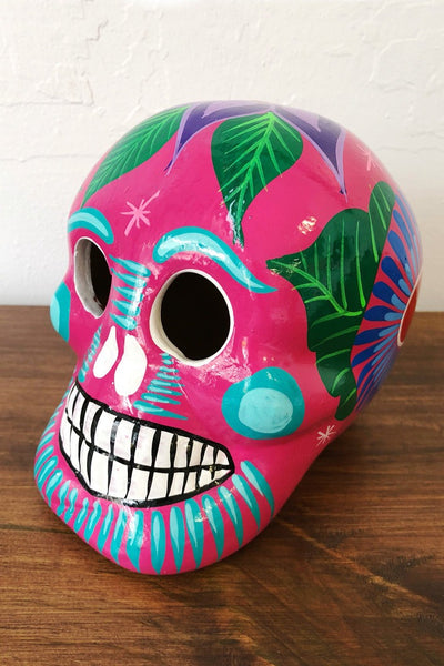 ShopMucho handmade ceramic Mexican sugar skull in pink