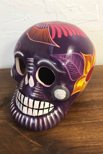 ShopMucho handmade ceramic Mexican sugar skull in purple