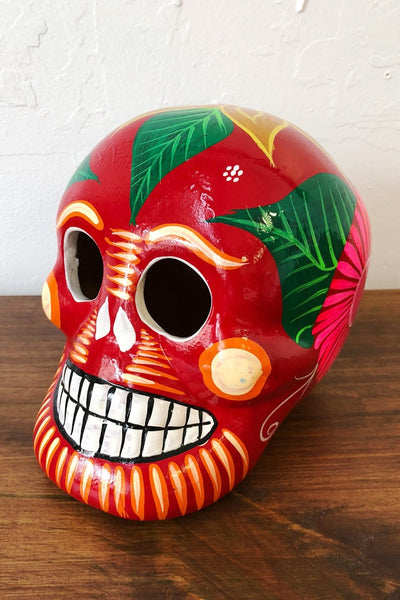 ShopMucho handmade ceramic Mexican sugar skull in red